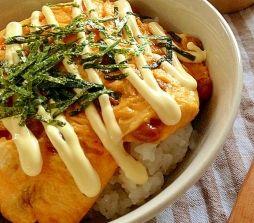 納豆のオープンオムレツ丼